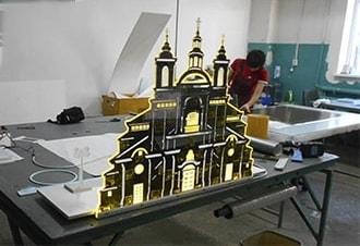 Акрилайт, световая панель макет здания