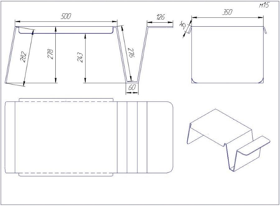 Схема, чертеж, размеры столика для ноутбука из прозрачного акрила