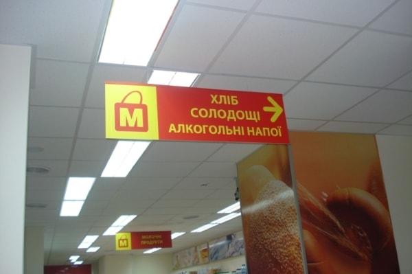 Табличка указатель - навигация в магазине