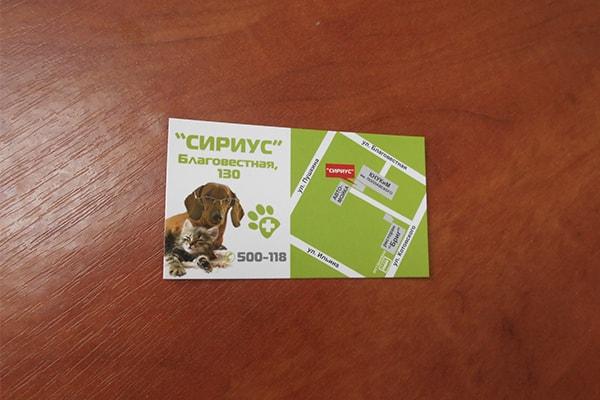 Информационная визитка зоомагазина