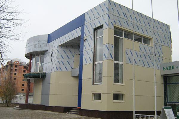 Наружное оформление фасада композитными панелями