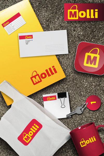 Розробка дизайна фірмового стиля супермаркета Моллі