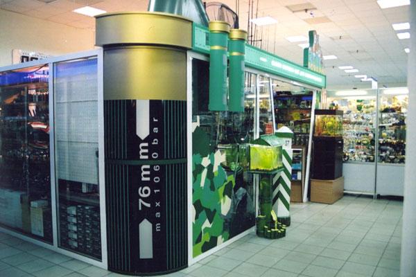 Рекламное оформление интерьера торгового павильона