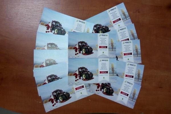Друк привітальних листівок на картоні в корпоративному стилі