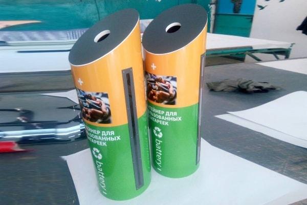 Контейнеры для сбора использованных батареек не стандартной формы с индикатором заполнения