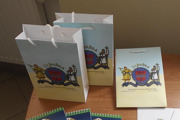 Подарочные пакеты из символикой административного района - Новоархангельская районная рада