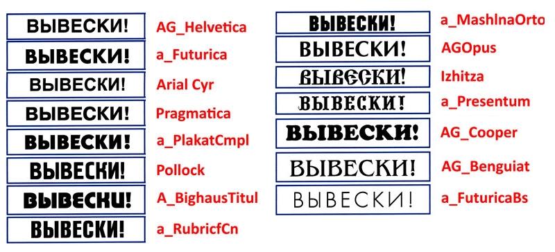Ефективні шрифти для вивіски, об'ємних літер