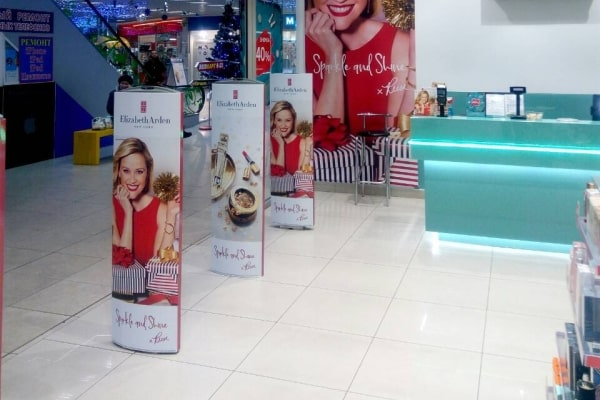 Корпоративное оформление, брендирование антикражных ворот в магазине