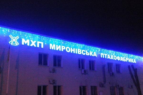 Объемные световые буквы, логотип из пластика ПВХ и акрила с подсветкой светодиодами для птицефабрики