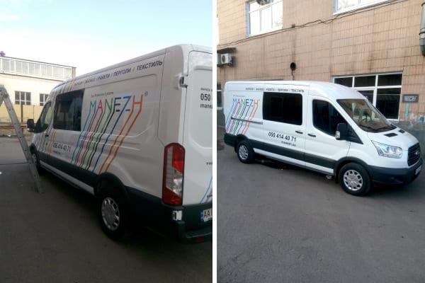 Логотип и корпоративная символика на микроавтобусе - поклейка самоклеющейся пленки