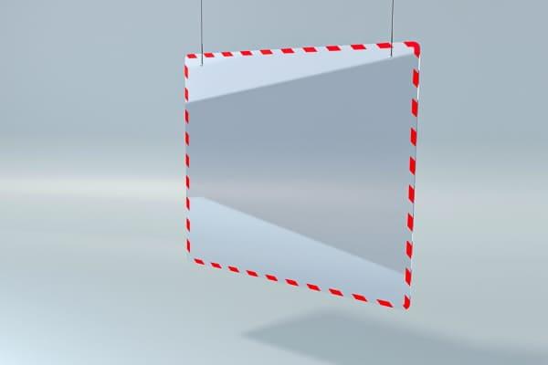 Захисна перегородка, екран для каси магазина підвісна ZB 006 1000*800мм